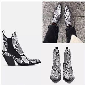 Zara snake heel leather boots rare bloggers fave